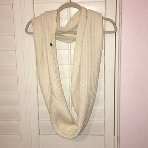 White Thick Stitch Infinity Scarf